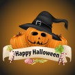Realistic Halloween pumpkins with witch hats. — Stock Vector