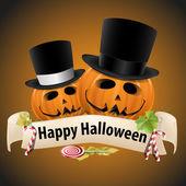 Halloween realistic pumpkins with cylinder hats — Stock Vector