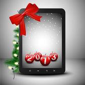 平板电脑在圣诞精神 — 图库矢量图片