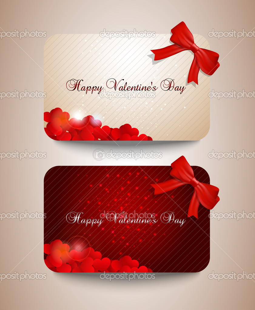 A set off 	Valentines cards width hearts. — Stock Vector #18934215
