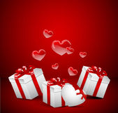 Flying present and hearts — Stock Vector