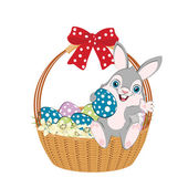 Easter bunny in a basket — Stock Vector