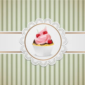 Cupcake with pink creme — Stock Vector
