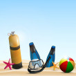 Scuba gear on a beach — Stock Vector