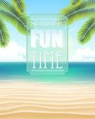 Beach with summer fun time — Stock Vector