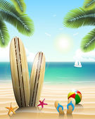 Surfboards on a beach with beach elements — Stock Vector