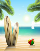 Surfboards on a beach — Stock Vector