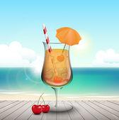 Cocktail on boardwalk — Stock Vector