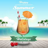 Summer cocktail and text — Stock Vector
