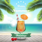 Summer cocktail — Stock Vector