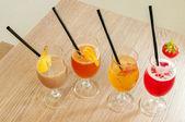 Four non alcoholic cocktails — Stock Photo