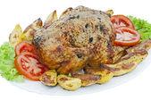 Whole roasted chicken on white background — Stock Photo