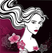 Fashionable girl with orchids — Vector de stock