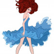 Illustration of a girl in a blue dress. — Image vectorielle