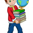 Illustration of boy student with books and globe — Stock Vector