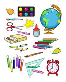 Illustration set of school supplies. — Stock Vector