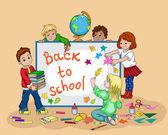 Illustration of children returning to school — Stock Vector