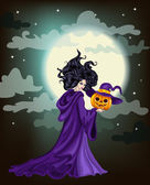 Halloween background with bright full moon. VECTOR — Stock Vector