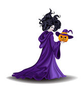 Beautiful witch with pumpkin in Halloween day — Stock Vector