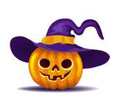 Frightful halloween pumpkin vegetable in purple hat — Stock Vector