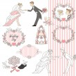 Wedding graphic set, Scrapbook design elements — Stock Vector