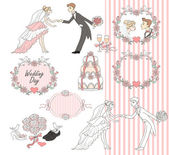 Wedding graphic set, Scrapbook design elements — Vector de stock