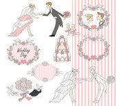 Wedding graphic set, Scrapbook design elements — Stock Vector