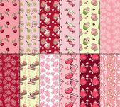Cute tea party scrap collection. vector illustration — Stock Vector