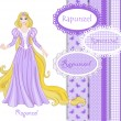 Beautiful princess Rapunzel — Imagen vectorial
