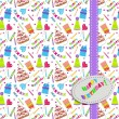 Seamless party pattern composed of colorful balloons, stars, cakes, and presents — Stock Vector