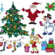 Set of colorful christmas characters and decorations — Stock Vector