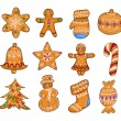 Set of Christmas cookies isolated on white background. — Stock Vector