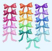 Cute set with bows.Polka dot. Vector illustration — Stock Vector