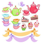 Tea time scrapbook set — Stock Vector