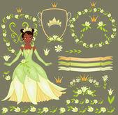 Vector conjunto floral elegante marco. princesa tiana. — Vector de stock