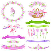 Set di cornici e icone di primavera — Vettoriale Stock