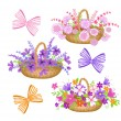 Stock Vector: Collection baskets with flowers and bows