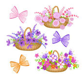 Collection baskets with flowers and bows — Stock Vector