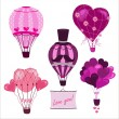 Stock Vector: Valentine's Day greeting cards with hot air balloons.