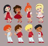 Romantic concept. Loving boy and girl. Cute cartoon vector illustration — Stock Vector