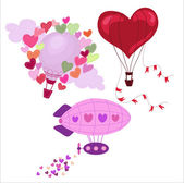Valentine's Day greeting cards with hot air balloons. — Vector de stock