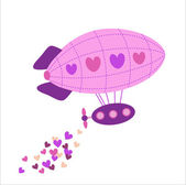Valentine's Day greeting cards with hot air balloons. — Stock Vector
