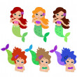 Stock Vector: Set of little mermaid