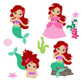 Set of little mermaid — Stock Vector