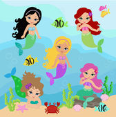 Set of little mermaid — Stock Vector