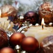 Two burning candles and Christmas decorations around, selective focus — Stock Photo