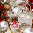 Plenty of colorful Christmas decorations, tree adornments and candlesticks — Stock Photo