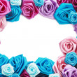 Valentine's frame of blue, vinous, pink and turquois — Stock Photo