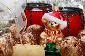 Close-up shot of Christmas decorations, focus on bear — Stock Photo
