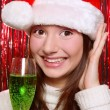 Pretty girl in Santa hat — Stock Photo
